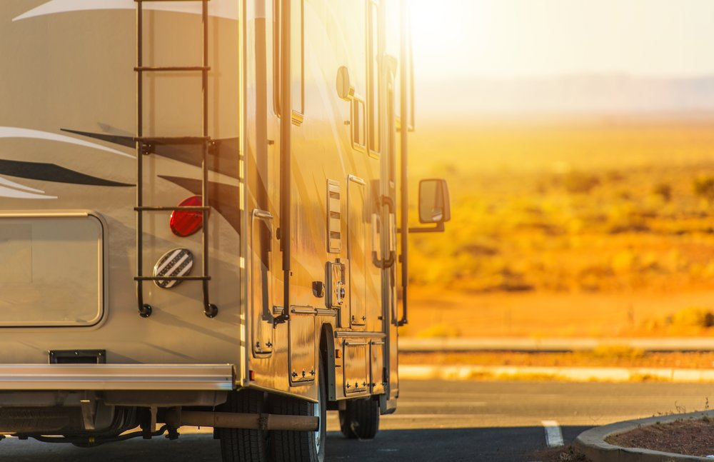 RV driving into the sunset