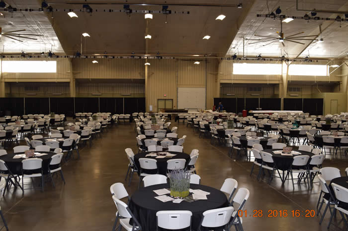 Dinner tables in a large room