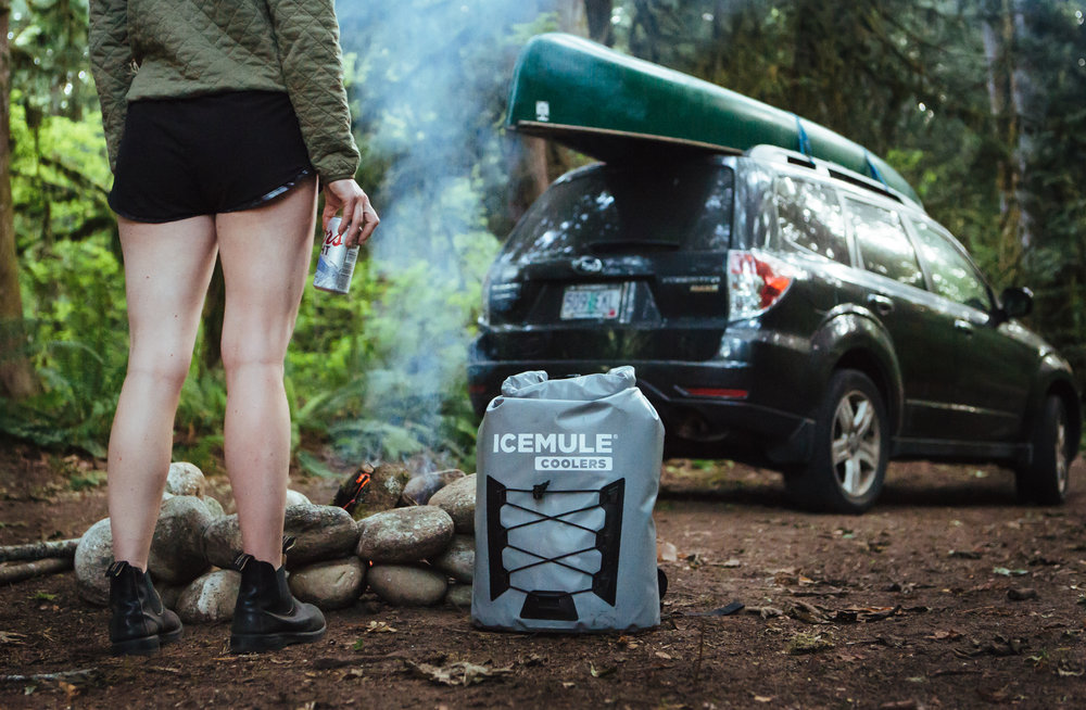 Icemule Coolers product photograph while camping on canoe trip - Outdoor Gear photography - The Beans and Rice Commercial Outdoor Adventure & Lifestyle Content