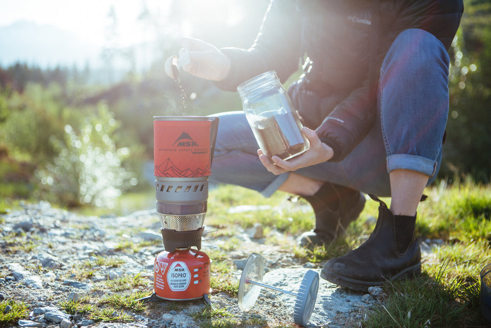 MSR Stove Product photograph while camping in Canada - Outdoor kitchen photography - The Beans and Rice Commercial Outdoor Adventure & Lifestyle Content