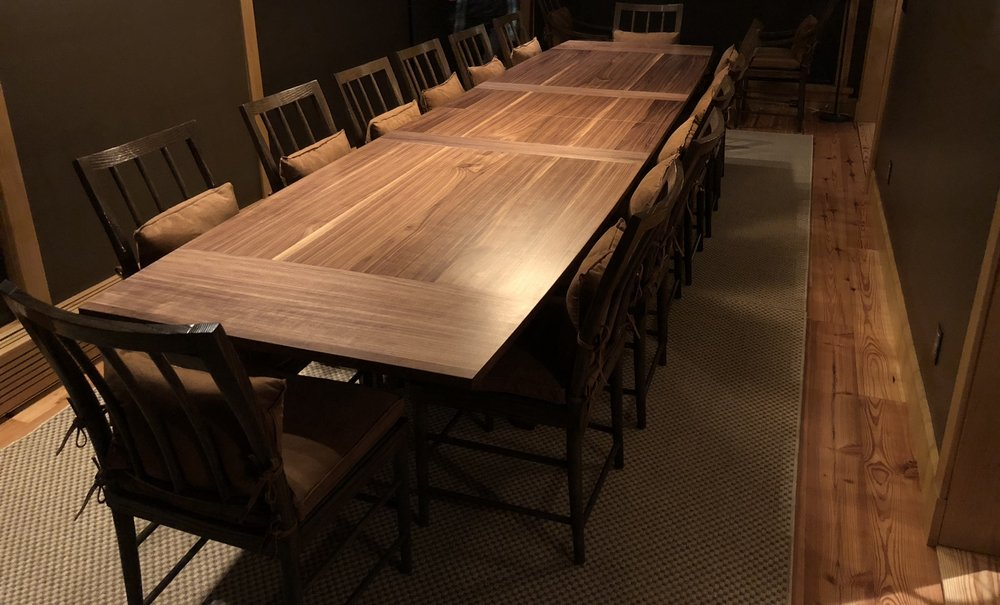 Expandable Table - Large, expandable walnut table for transitional vacation home in Alta, UT. Client requested a table that would function both for destination business meetings and for celebratory gatherings. Table expands from 10' to 14' with minimal effort and can seat 14+ people.In collaboration with Lane Myer | 2017
