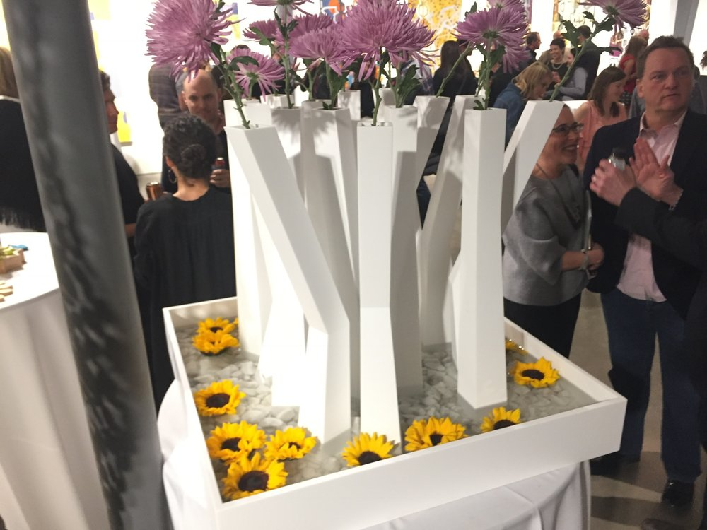 Vase Installation - Tall, angular, Krion vases created for Month of Modern's annual fundraiser and design event: Design in Bloom.In collaboration with Connect One Design | 2015