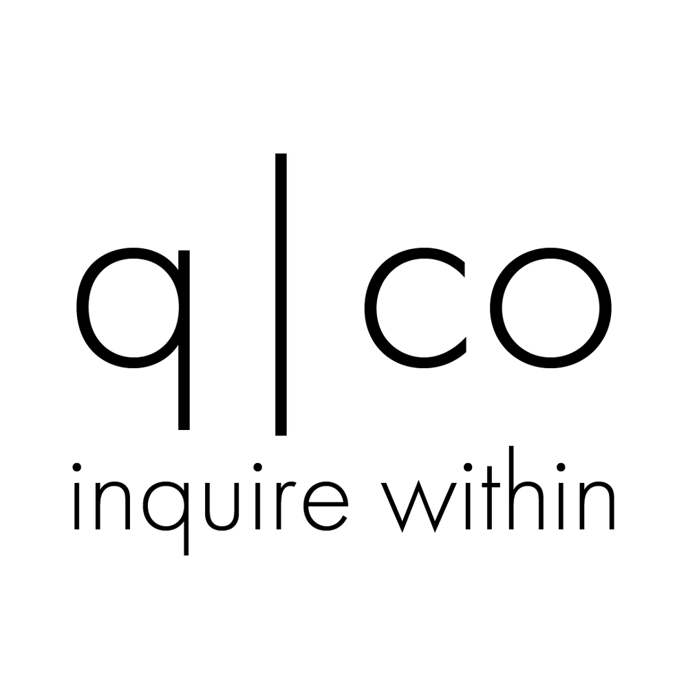 q|co logo inquire within white background