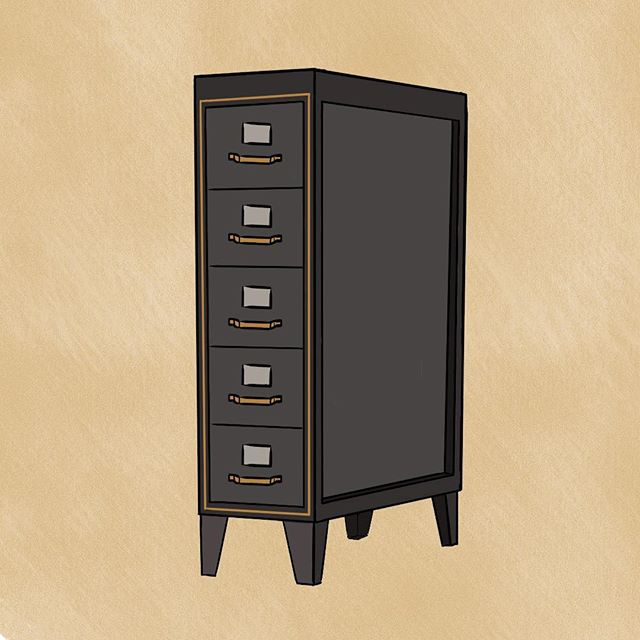A premium filing cabinet, for the most important documents, with brass handles, and sophisticated inlays.