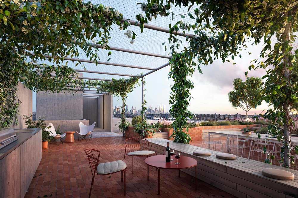 The communal rooftop with feature plots for growing your own food, composting your waste and connecting with your neighbours.