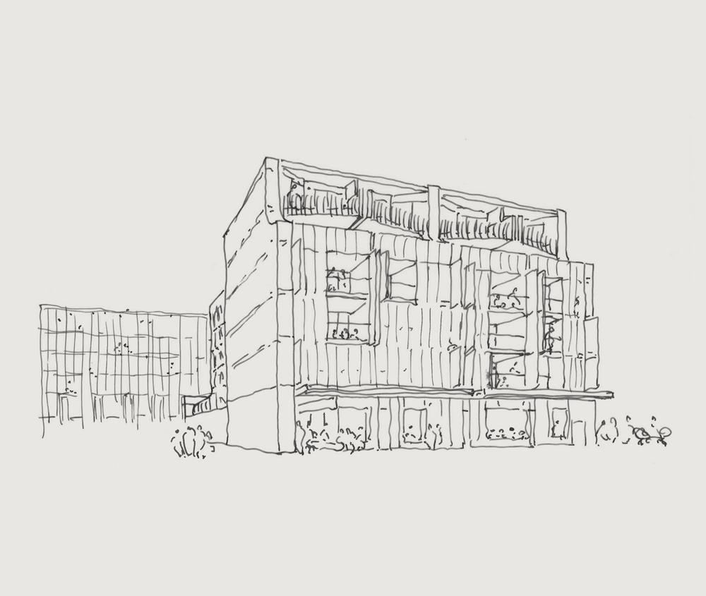 Sketch: Looking up at Balfe Park Lane from Nicholson Street.