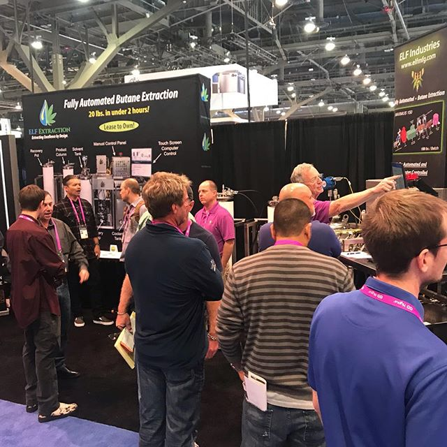It's a packed house again today and the team is out in full force!  Come meet Richard and Josh, the company founders, and they can walk you through the #Elf Extraction process. . #mjbizcon #mjbiz2018 #mjbizlasvegas  #ElfExtraction #ElfMfg #butane #madeinamerica #Holos20 #Extractor #Accurate #ASME #PSIreviewed #butaneextraction #CBDextraction #botanicalextraction #extractionequipment #BHO