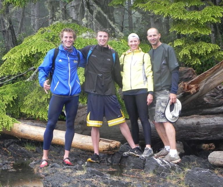 Near the Juan de Fuca trailhead...still smiling because we didn't know what we were in for!
