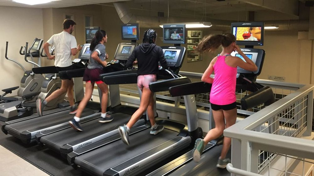 From left, Vintage head coach Brian Pruyn, Mary Deeik, assistant coach Ana Palafox and Josephine Borsetto train at HealthQuest.