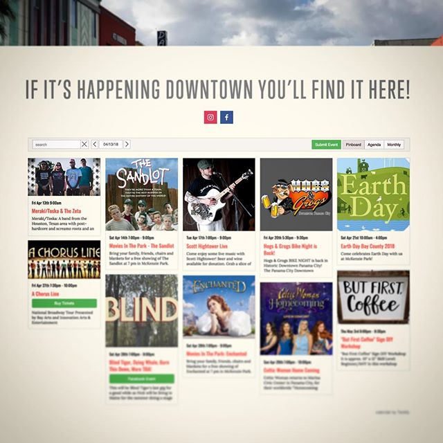 We just added an event calendar to downtownpanamacity.com. Now there is one place to go for everything happening In Downtown Panama City.