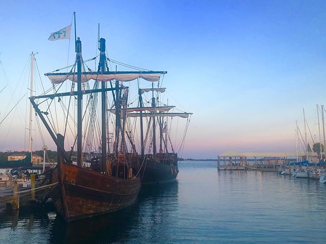 The Pinta and Nina have sailed into the Panama City Marina. It's a beautiful evening to be downtown.