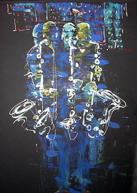 Bright, vivid abstract painting of jazz saxophone musician in blue and green.