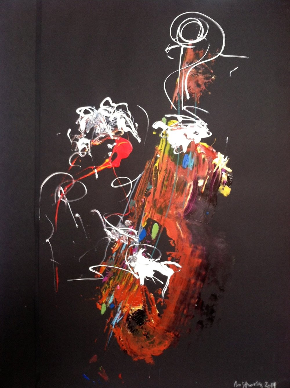 Bright, vivid abstract painting of jazz musician in multicolor.