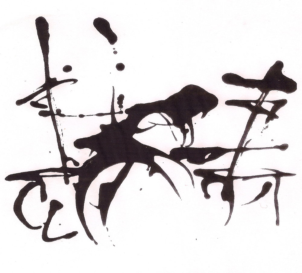 Black and white abstract splatter painting.