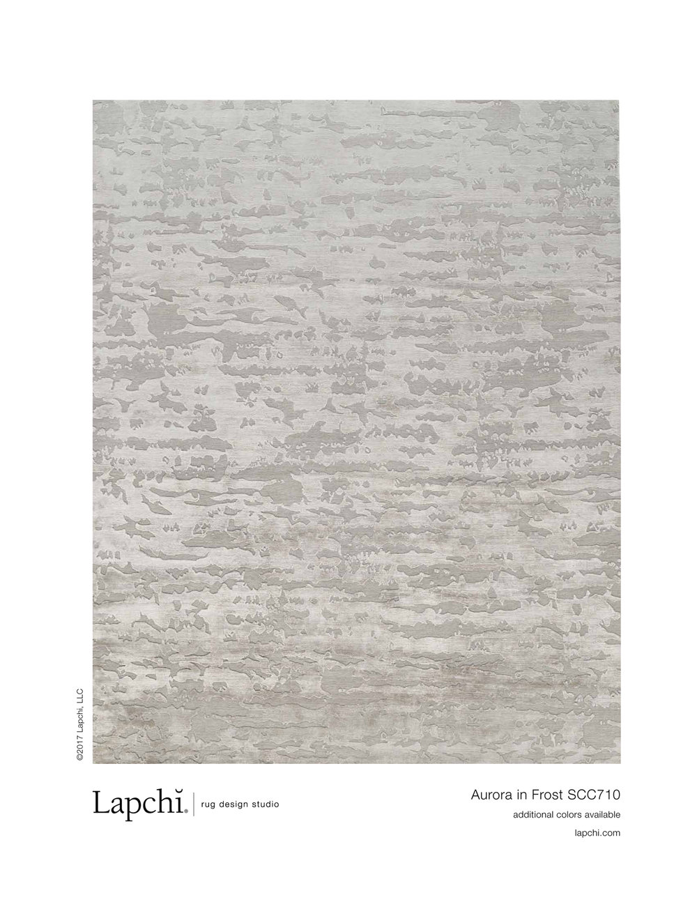 Aurora area rug in frost from Lapchi rug design studio.