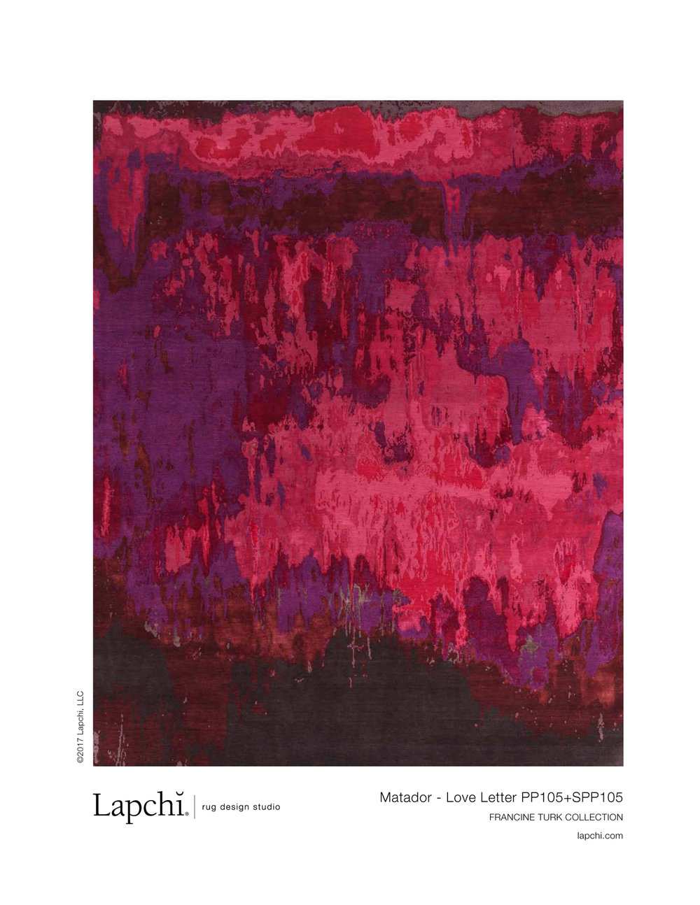 Matador area rug in love letter from Lapchi rug design studio.