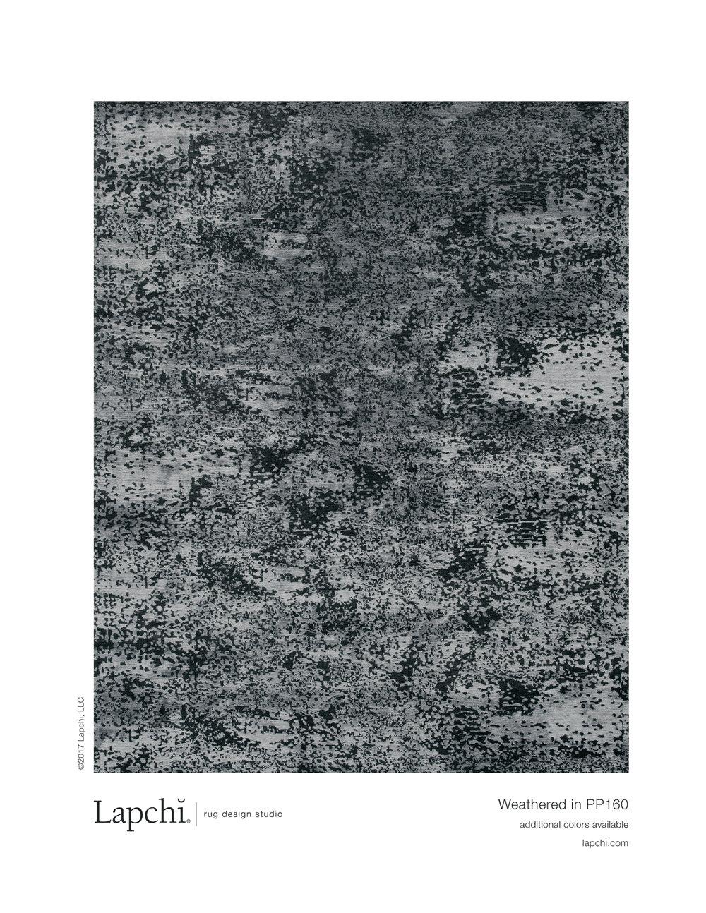 Weathered area rug from Lapchi rug design studio.