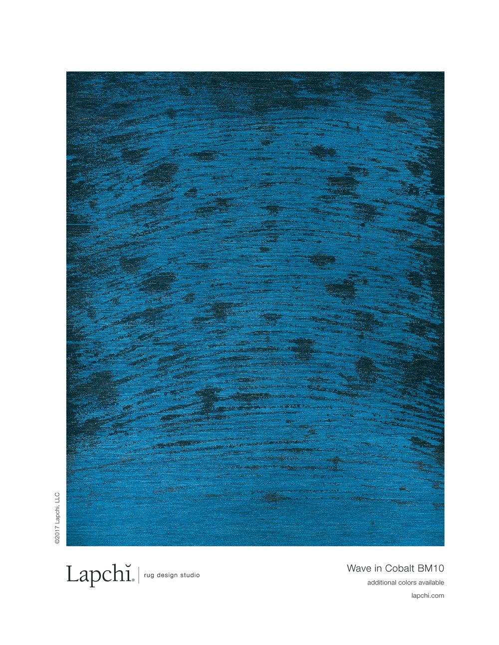 Wave area rug in cobalt from Lapchi rug design studio.