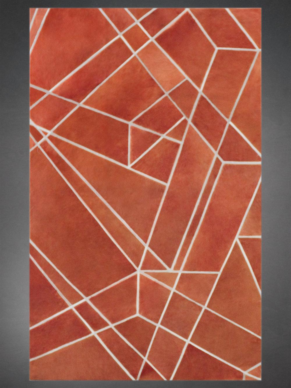 Contemporary designed fur rug in a geometric, cubist pattern in red-orange.