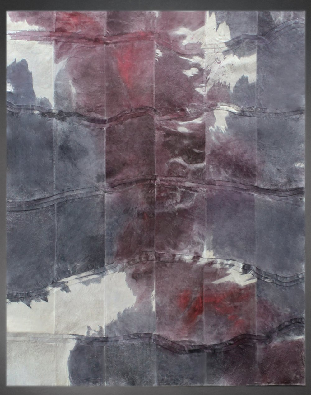 Contemporary designed fur rug in the Watercolor style by Yerra in light stone, gray and red.