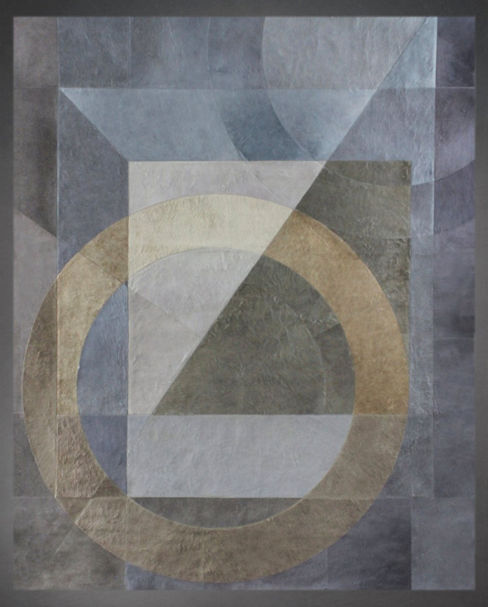 Contemporary designed fur rug in the Cubist style by Yerra in storm, gold, and gray.