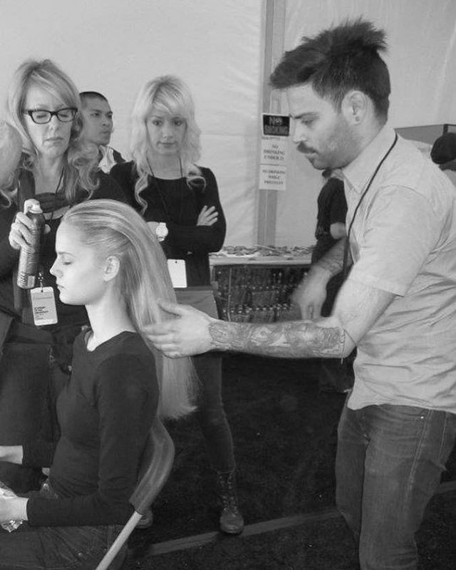 #tbt to #NYFW past. Some of my favorite memories are running around NYC on my motorcycle trying to make each show on time, with a packed schedule and models running behind. I miss hanging out with the team every season, joking around and sometimes doing hair. 😜 In this pic @christinethompsonhair is hanging out. Everyone helped everyone. And I am rocking a cleaner face and some helmet hair. Looks like sometime in 2011 judging by the mustache.