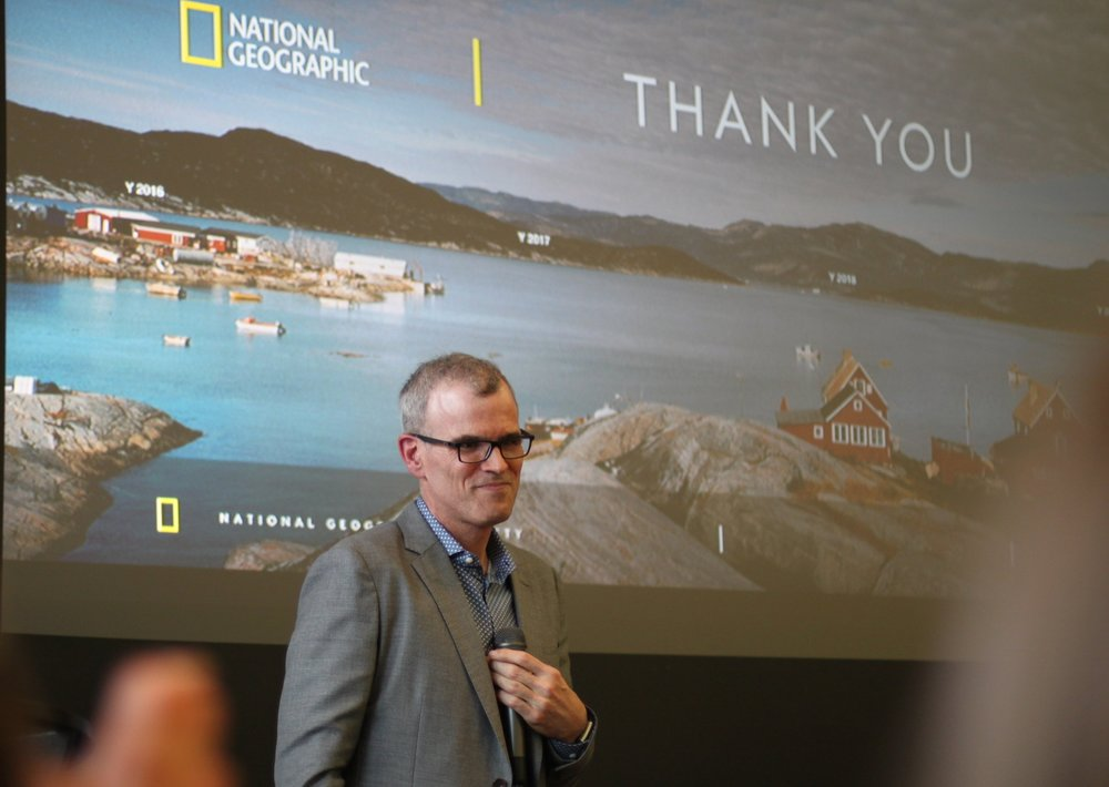 Alex Tait, The Geographer at National Geographic, speaking about his work.  Photo by Alison Travis.