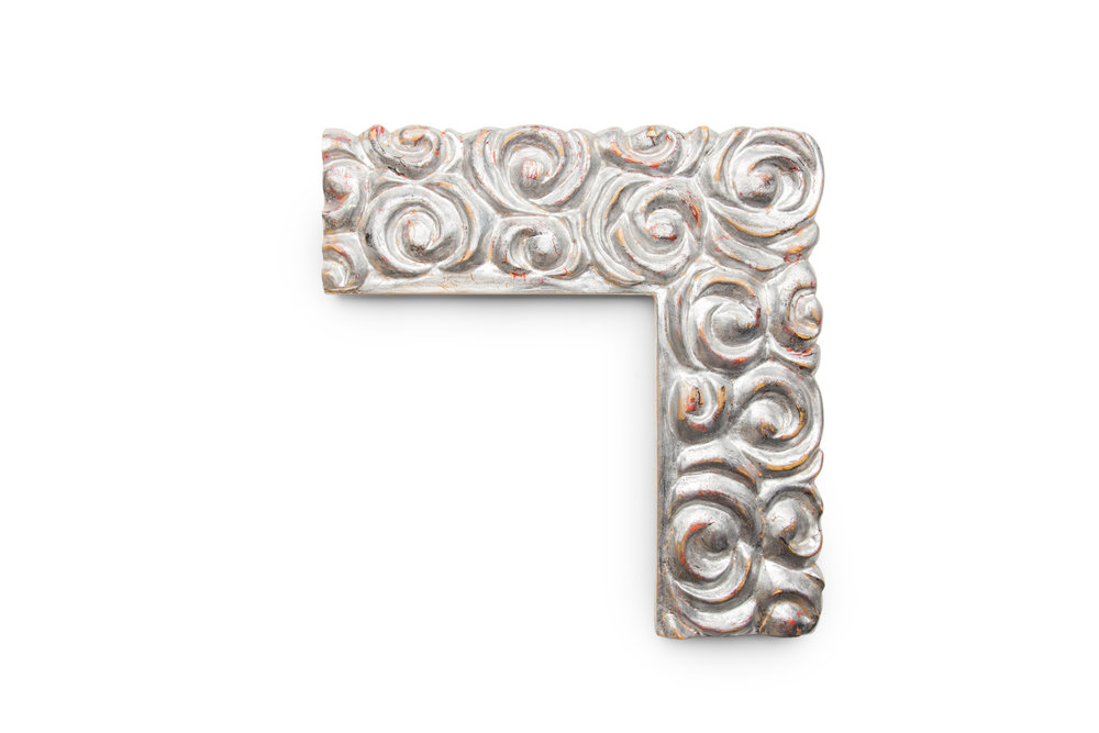 "4 1/2"" Overlapping Swirls in Metal Leaf Silver The dense overlapping swirls provide for a dramatic look in any room with a tendency to steal the show."