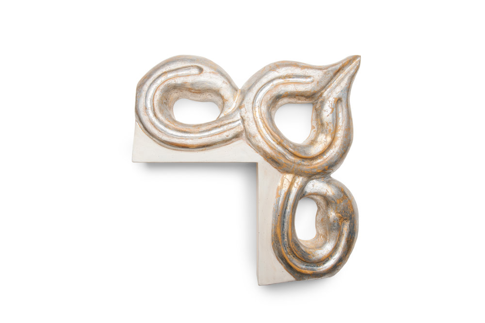 "6 1/2"" Moroccan Tear Drop Swirls in Metal Leaf Silver with an Antique White Lip A Statement piece designed to be the center of attention, the frame becomes the artwork."