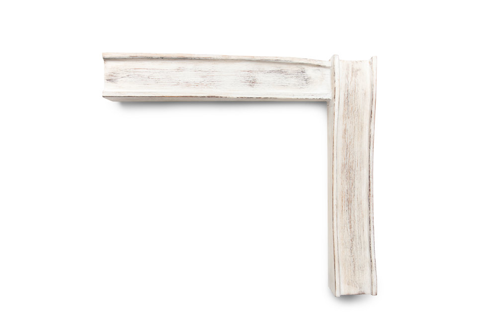"2 1/2"" White-Washed Driftwood Inspired by Arts & Crafts A cohesion of beach driftwood and arts & crafts, suitable for portraits, beach scenes, nautical maps, and modern whimsy."