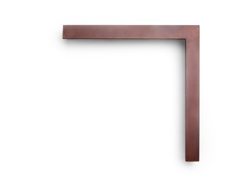 Oxidized Red Steel This 1-1/4 inch welded steel frame has a flat face and side, and has been ground to a relatively smooth surface, with an oxidized red coloring.