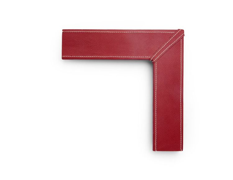 Red Textured Stitch A 3 inch leather-wrapped frame, with a bright red textured panel and white contrast stitching along the inner and outer edges and corner miters, on a flat face.  There are many finishes and leathers to choose from, and no two are exactly alike.