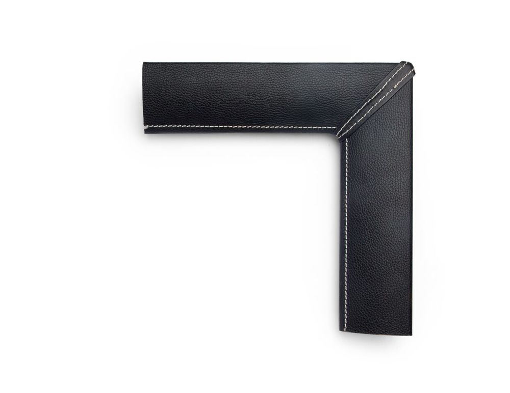 Rounded Black Flat A 3 inch leather-wrapped frame, with a flat black textured panel and white contrast stitching along the inner lip and corner miters, on a softly rounded frame face.  There are many finishes and leathers to choose from, and no two are exactly alike.