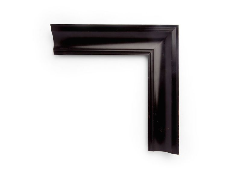 Dutch Scooped Cove A 3-3/4 inch Dutch-style frame, with a high outer edge and simple cove scooping toward the inside. The finish shown is a polished Dutch black lacquer.