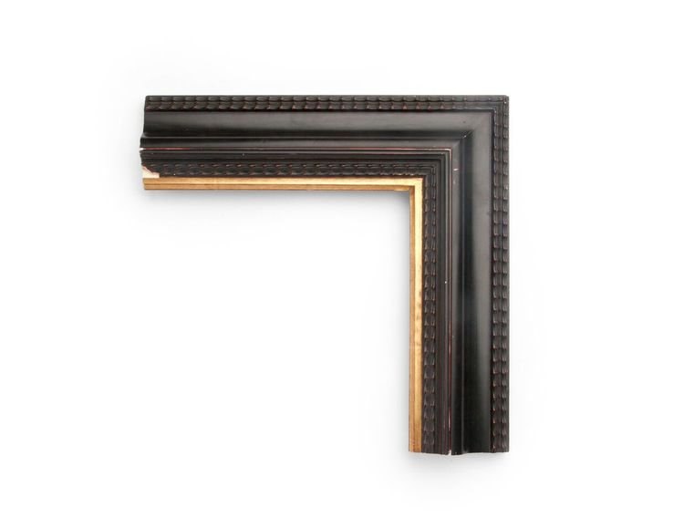 Thin Gold Ripple A 3-1/4 inch Dutch-style frame, with outer and inner thin sections of ripple decoration and a reverse ogee along the center. The finish shown is black over red clay, with yellow gold along the inner lip.