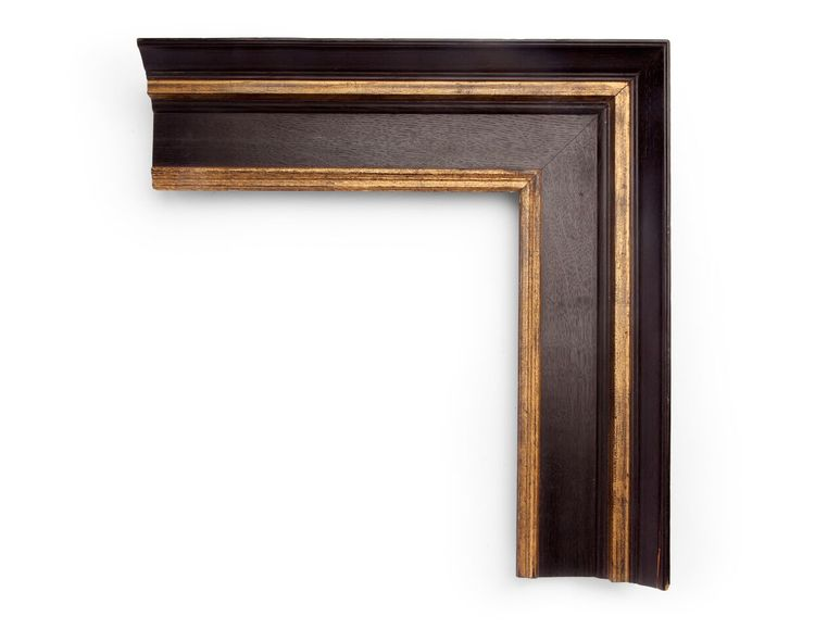 Wood Grain Gold A 4 inch Dutch-style frame, with a steep outer lip and shallow inner panels. The finish shown is a painted black on unpolished wood grain, with yellow gold applied to the outer and inner panels.
