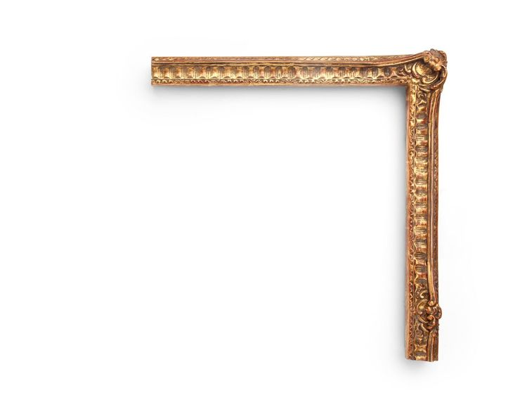 "English Fluted Regency A French-inspired 1-1/2"" English Regency-era frame, this narrow frame features carved rails meeting at floral-and-shell decorative corners and centers, fluting along the cove, and decoration on the outer and inner edges. The finish shown is yellow clay with a deep antique finish and red clay."