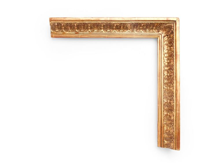 High Cove Palmette A French 2 inch Neoclassical-era frame, the center high cove is decorated with anthemion palmettes along the sides and corner. The finish shown is yellow gold with a red clay.