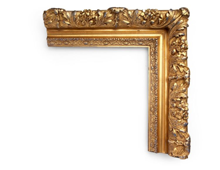 Barbizon American Gold A French-inspired 4-3/4 inch Barbizon-style frame adopted by the American school, with tall outer floral decoration and cross-hatching, center cove, and floral inner lip. The finish shown is yellow gold with a blue clay.