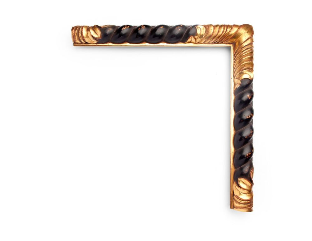 Twisted Rope Motif A Spanish 2 inch 17th-century frame, with a black carved twisted-rope motif all along a round top profile, and gilded stacked-floral decoration at the corner and center. The finish shown is polished black over yellow gold with distressing and a red clay.