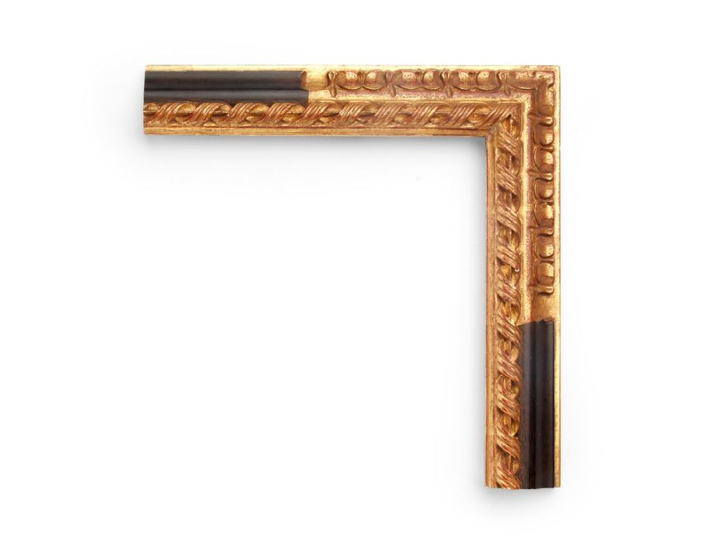 Carved Black Gold Panel A Spanish 2-1/4 inch frame, with overlaid panel carving on the outer corner, with a separated black panel and a high-relief twisted rope decoration all along the inner edge. The finish shown is a black panel and yellow gold with a red clay.