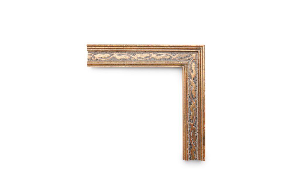 """Cassetta 2 1/4"""" Italian Gold Cassetta with Pastiglia on a Weathered Black Panel. A traditional Italian profile aged and rubbed to echo a remnant of historical romance in art."""