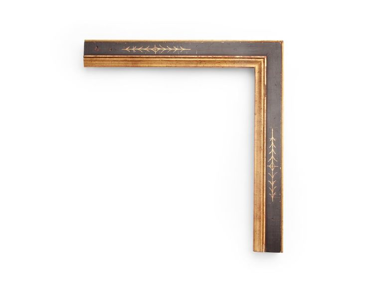 Geometric Golden Lip An Italian 1-3/4 inch frame, with a black panel over gold revealed by geometric sgraffito scratchwork along the frame centers, and gold inner lip. The finish shown is black over yellow gold with a distressed panel and a red clay.
