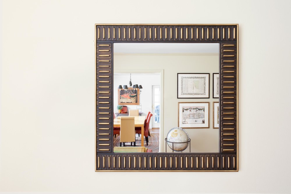 Square wooden framed mirror