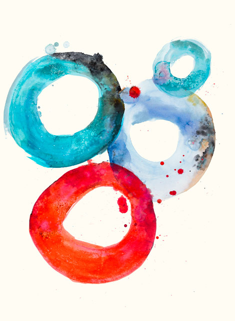 Watercolor Oval 3 by N. Marie
