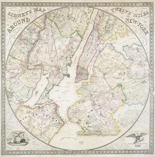 Sidney's Map 12 Miles Around New York 1849