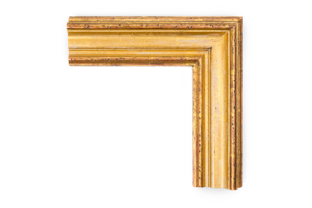 """Louix XVI   3 1/2"""" 22kt Gold traditional Louis XVI uncarved panel, heavily distressed, heavily rubbed, heavily antiqued"""