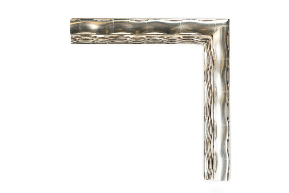 """Contemporary Silver Wave  2 1/2"""" American White Gold Wave over black clay, inspired by mid-century modern artwork and architecture"""