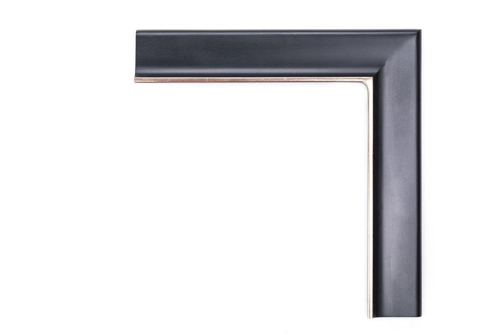 "Clean Black, Raised Lip  2 3/4"" Satin Black, matte panel, raised lip, clean white gold top edge, no rub or antique"