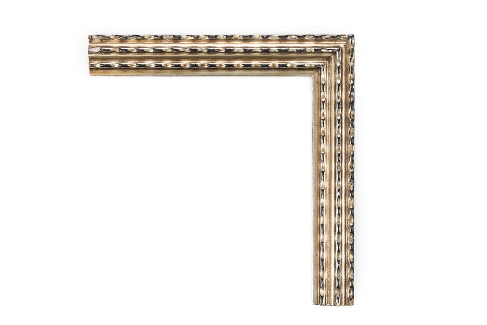 """White Gold Ripple  2 1/4"""" White gold, heavy black rub, Dutch ripple design"""
